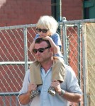 Liev Schreiber out and about in Manhattan with his wife and sons Kai and Sasha Schreiber New York City, USA