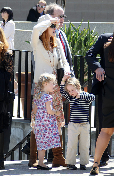 Marcia Cross and her twin daughters, Eden and Savannah, attend their nannie's college graduation in Riverside.
