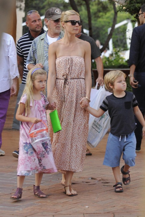 Gwyneth Paltrow continued to enjoy some vacation time with kids Apple and Moses and Steven Spielberg in Porto Cervo, Italy on July 9th, 2011.