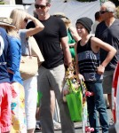 Pierce Brosnan and his son Dylan stop by the Malibu Farmers Market on Sunday morning.