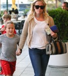 Reese Witherspoon runs errands with her son Deacon Phillppe and some of his pals in Los Angeles, CA on October 11, 2011.