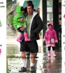 Celeb Baby Style - Rainy Day - Adam Sandler With His Two Daughters Sadie and Sunny