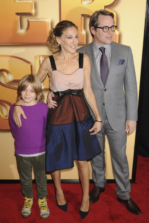 "Sarah Jessica Parker and Matthew Broderick take their son James to the ""Tower Heist"" world premiere at the Ziegfeld Theater in New York 10-24-2011"