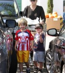 Sharon Stone stopped by Bristol Farms to do some shopping with her boys Laird and Quinn Stone in Los Angeles, California on October 10, 2011.