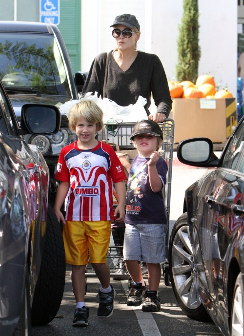 Sharon Stone Does Groceries With Her Boys