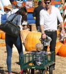 Singer Robin Thicke enjoyed a day at Mr. Bones Pumpkin Patch in Beverly Hills, California on October 9, 2011 with his wife Paula Patton and their son Julian.