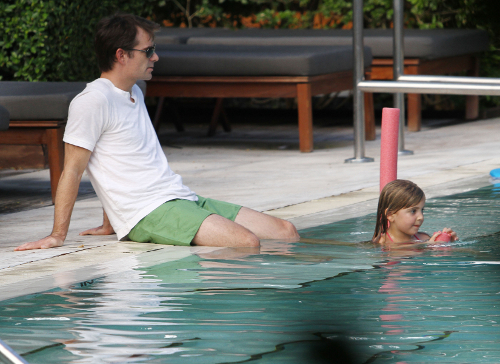 Jeff Gordon Enjoys A Dip In The Pool With His Family
