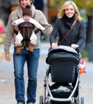 Jane Krakowski and her husband Robert Godley take a stroll through SoHo with their son Bennett