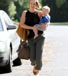 Ali Larter was spotted leaving her home with son Theodore to head to a 'mommy and me' class in Brentwood, California on November 2nd, 2011.