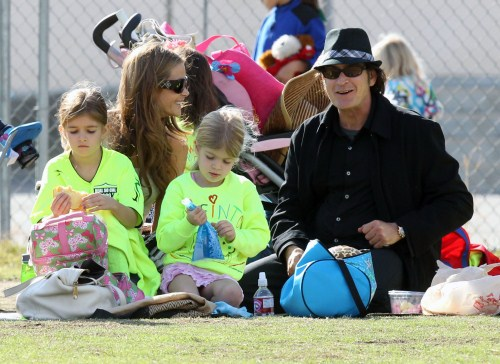 Charlie Sheen and Denise Richards at the soccer fields in Calabasas, California on November 19, 2011 to watch their eldest daughter Sam play in her soccer game.