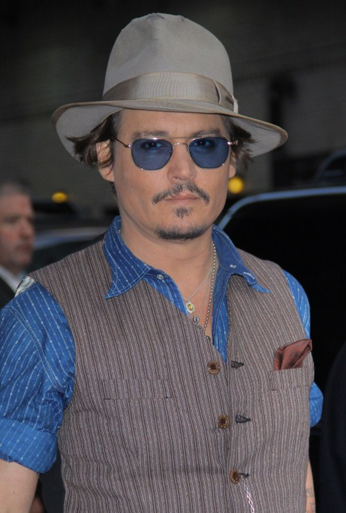 """ohnny Depp made an appearance on the Late Show with David Letterman in New York City, New York on October 26, 2011 wearing a blue outfit with matching blue nail polish. Johnny is currently on a promotional tour for his latest film """"The Rum Diary."""""""