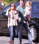 Alyson Hannigan out and about with her family; hubby Alexis Denisofin and daughter Satyana Denisof in Santa Monica, CA on November 5th, 2011.