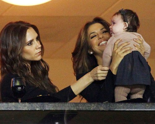 Victoria Beckham and Eva Longoria Take Harper to Watch Daddy Play