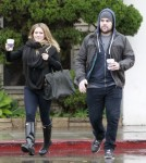 Pregnant Hilary Duff and Mike Comrie enjoy a rainy weather in Beverly Hills, California on November 20