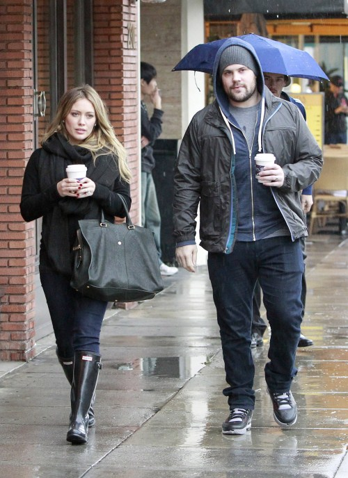 Pregnant Hilary Duff and Mike Comrie enjoy a rainy weather in Beverly Hills, ...