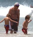 Jamie Spears takes his daughter Britney Spears's sons, Sean Preston Federline and Jayden James Federline to Ipanema Beach in Rio de Janeiro, Brazil on November 11, 2011.