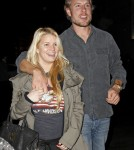 Jessica Simpson, with Eric Johnson shows off a growing baby bump as she leaves Mexicali restaurant in Los Angeles.