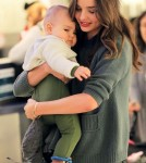 Miranda Kerr in New York City on Sunday with son flynn and her sister