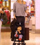 Miranda Kerr and son Flynn at FAO Schwarz (November 14).