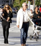 Rachel Zoe, her son Skyler Morrison Berman (b. March 23, 2011) and her father Ron Rosenzweig look at pop-art at Guy Hepner Art Gallery in West Hollywood.