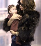 Victoria Beckham and baby Harper are see at JFK Airport to catch a plane to Los Angeles.