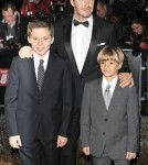 David Beckham with sons Romeo Beckham and Brooklyn Beckham attending  The Sun Military Awards at Imperial War Museum in London