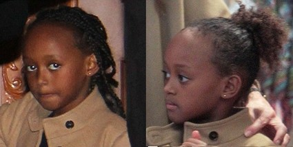 Angelina Jolie and Brad Pitt's Daughter Zahara Gets Extensions (Photo)