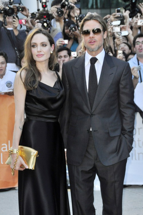 "Brad Pitt and Angelina Jolie attend the premier of the new movie ""Money Ball"" at the Toronto Film Festival 09-09-2011"