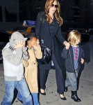 "Angelina Jolie takes her children Shiloh, Zahara and Pax to watch the movie ""The Muppets"" in New York City."