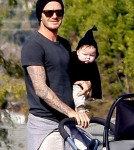 David & Victoria Beckham attend Romeo's Soccer Game with Harper in Santa Monica, Ca (December 10).