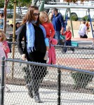 Pregnant Jennifer Garner takes her daughters Violet and Seraphina to play at a Santa Monica park.