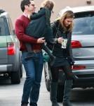 Jessica Alba and her husband Cash Warren drop off their daughter Honor at school in Santa Monica.