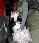Jessica Alba takes her daughter, Haven Garner Warren shopping at Bel Bambini in Beverly Hills.