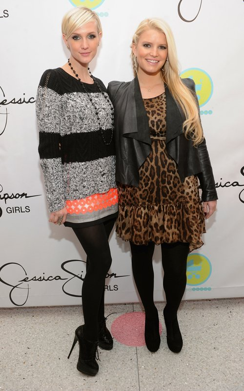 Jessica Simpson and Ashlee Simpson aunch of Jessica Simpson Girls at Dylan's Candy Bar December 1, 2011 in New York City