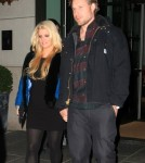 Mom-to-be Jessica Simpson having a romantic night out with fiance Eric Johnson at Il Buco restaurant in New York, New York on November 30, 2011
