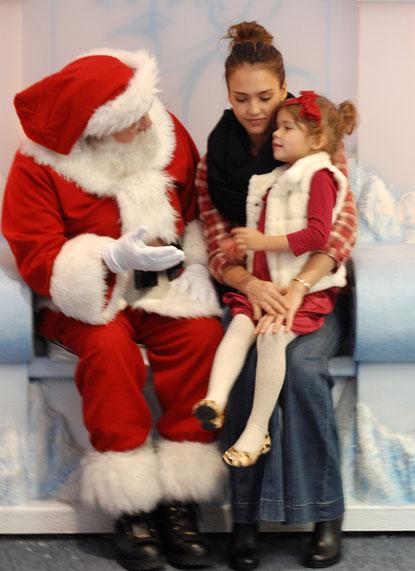 Jessica Alba And Honor Marie Visit Santa Claus