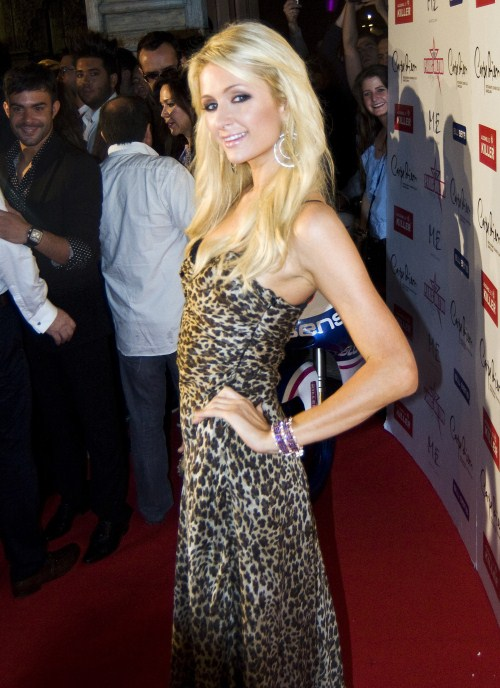 Paris Hilton poses during a photo call in Barcelona on November 3, 2011.