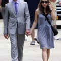 "Robert Downey, Jr. holds hands with pregnant wife Susan Levin Downey as they walk to the set of ""The Avengers"" in Central Park, NYC 09-02-2011"