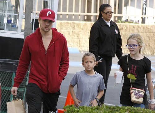 Actor Ryan Phillippe took his kids Ava and Deacon out for some lunch in West Hollywood, Ca on December 4, 2011.