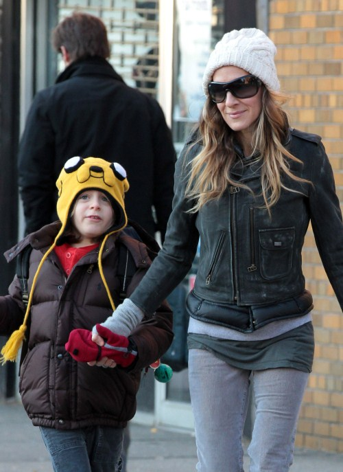 Sarah Jessica Parker and son James Broderick in New York, NY this morning December 9th, 2011.