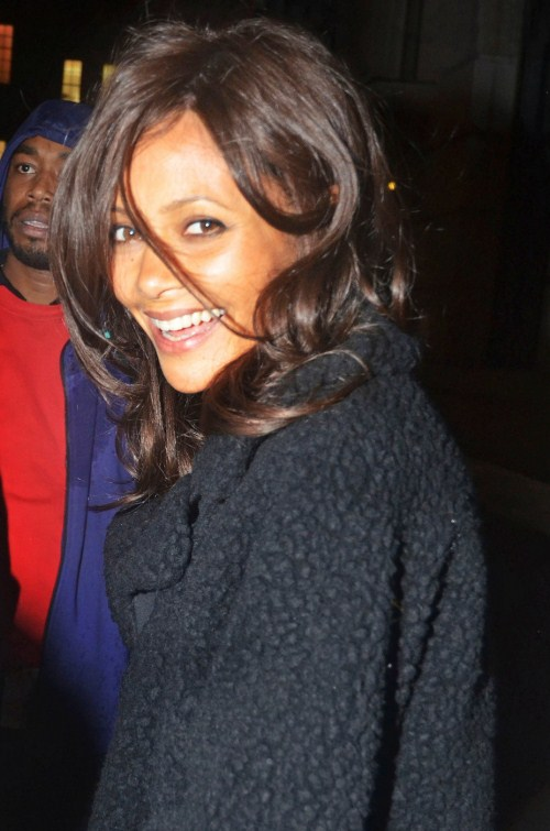 "Thandie Newton leaves the Mint Leaf restaurant in London's Haymarket after attending the afterparty of her new play ""Death Of A Maiden"" 10-24-2011"