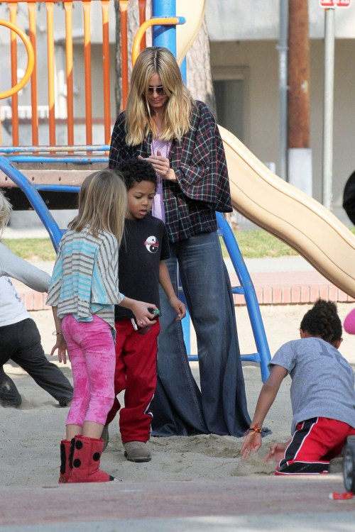 "Heidi Klum, host of ""Project Runway,"" is seen out and about with her family in Brentwood"