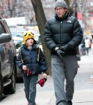 Matthew Broderick taking his son James to school on a cold morning in New York CIty