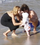 Fashionista Rachel Zoe and Rodger Berman take their baby son Skyler to the beach in St. Barths