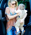 Ali Larter and her son Theodore MacArthur headed to a friends house in Brentwood, CA on January 25th, 2011.