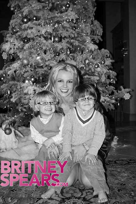 britney spears with sean-preston and jayden-james Christmas