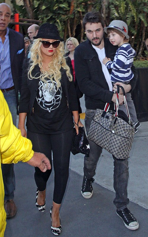 Christina Aguilera Spends A Night Out With Her Boys