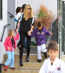 After picking up her children from karate class, Heidi Klum takes Leni , Henry and Lou to McDonald's for lunch.