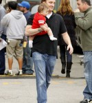 """Jay Mohr gets a visit from his family on the set of his upcoming film """"The Incredible Burt Wonderstone"""""""