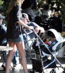 Kimberly Stewart and baby Delilah Del Toro having lunch in LA (December 2)